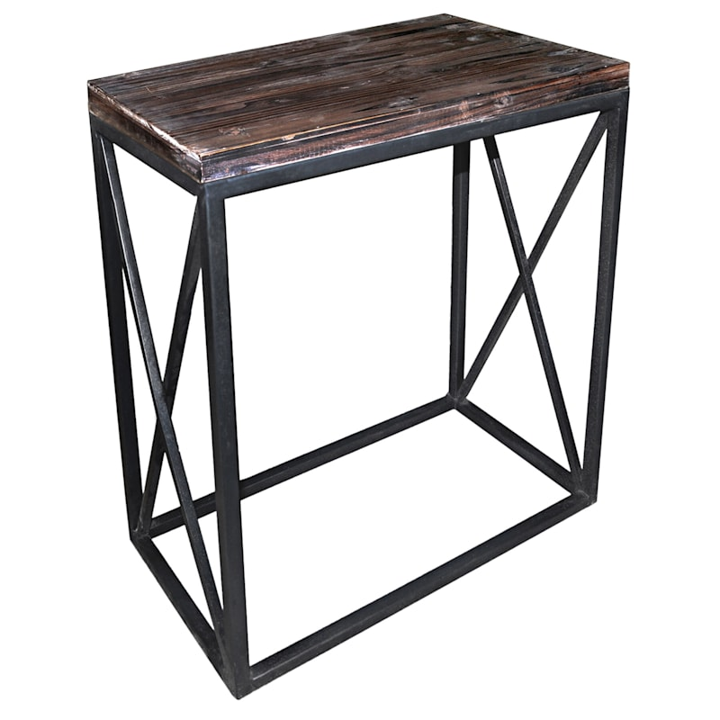 Wood Top With Black Cross Metal Table, Large