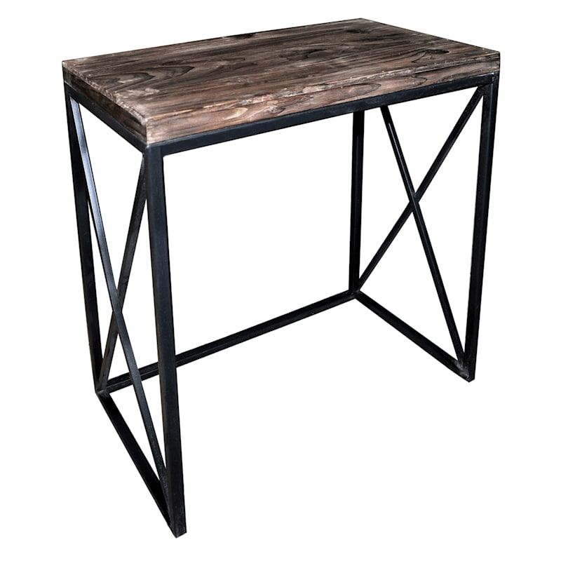 Wood Top With Black Cross Metal Table, Medium