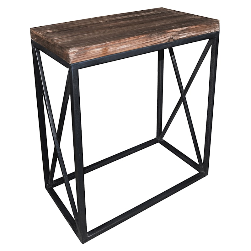 Wood Top With Black Cross Metal Table, Small