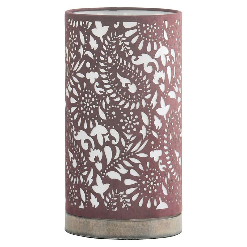 Purple Floral Cutout Lantern-12 in.