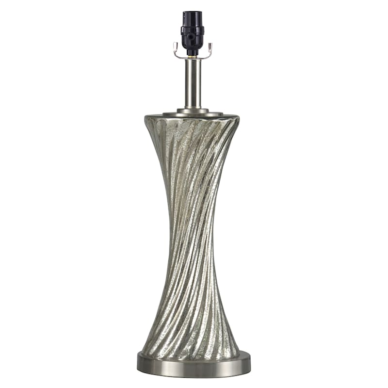 22in. Silver Twist Mercury Glass Table Lamp