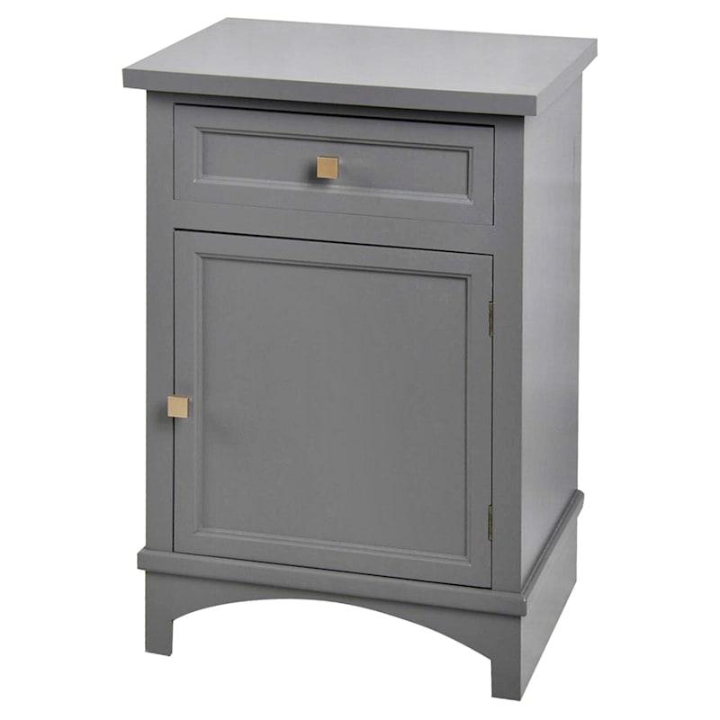 Black 1 Drawer 1 Door Cabinet