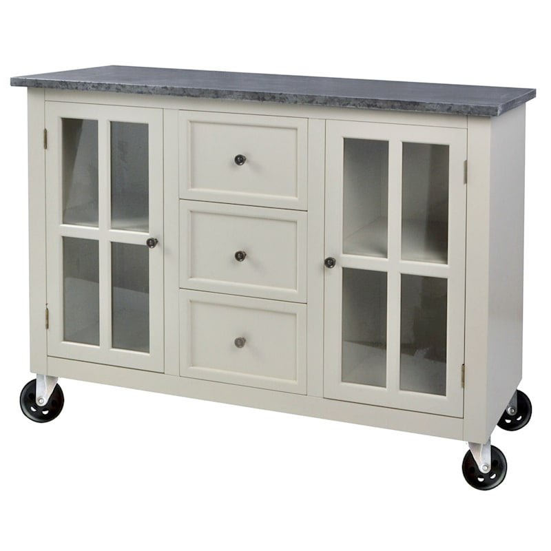 1 Door 3 Drawer White Rolling Cabinet With Metal Top