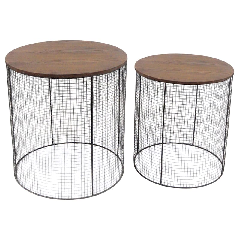 Large Metal Meshed Wood Top Plant Stand