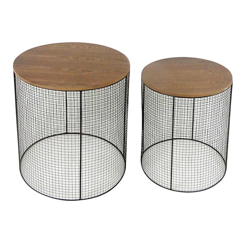 Small Metal Meshed Wood Top Plant Stand