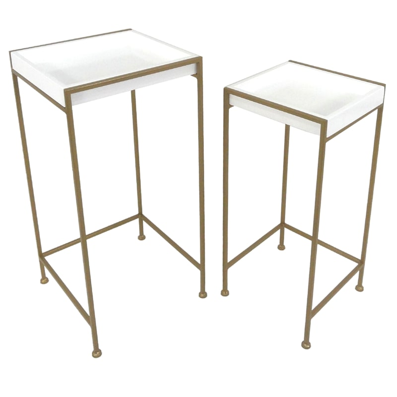 Plant Stand With Gold Metal Base White, Large