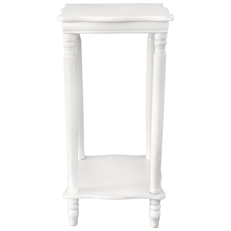 Wood Square Top Plant Stand White
