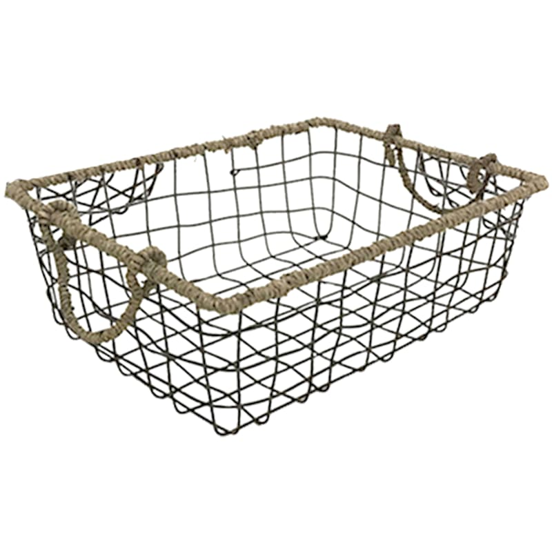 Rectangle Grid Wire Basket Seagrass Wrap