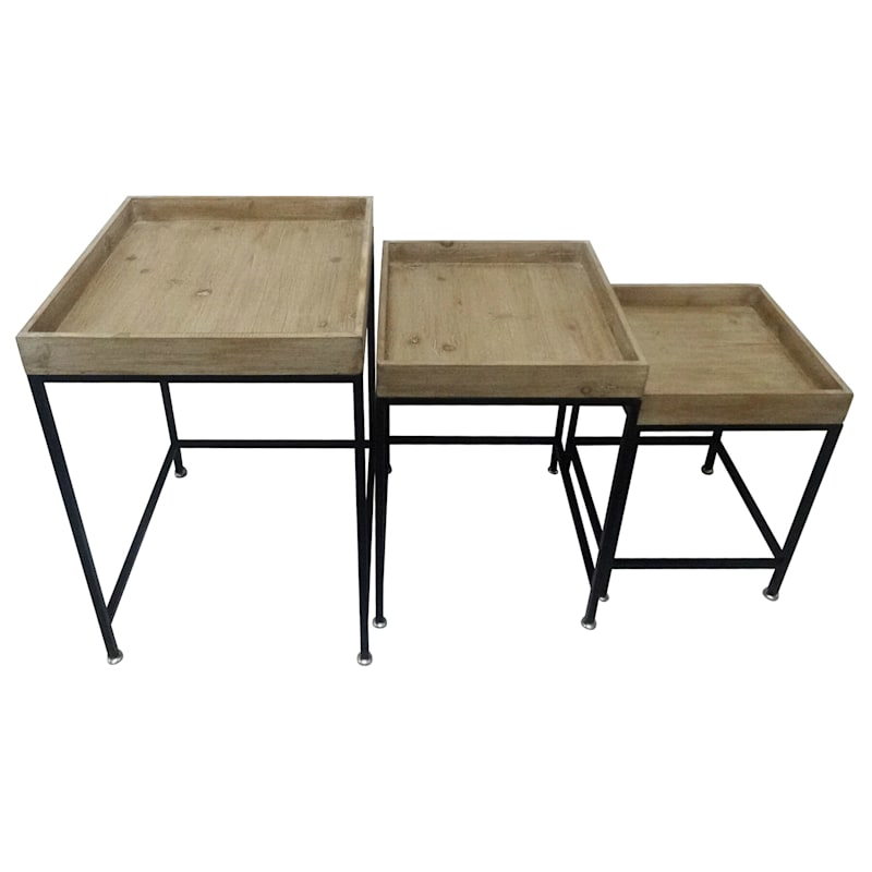 Barb Wood Tray Top Table With Metal Base, Medium