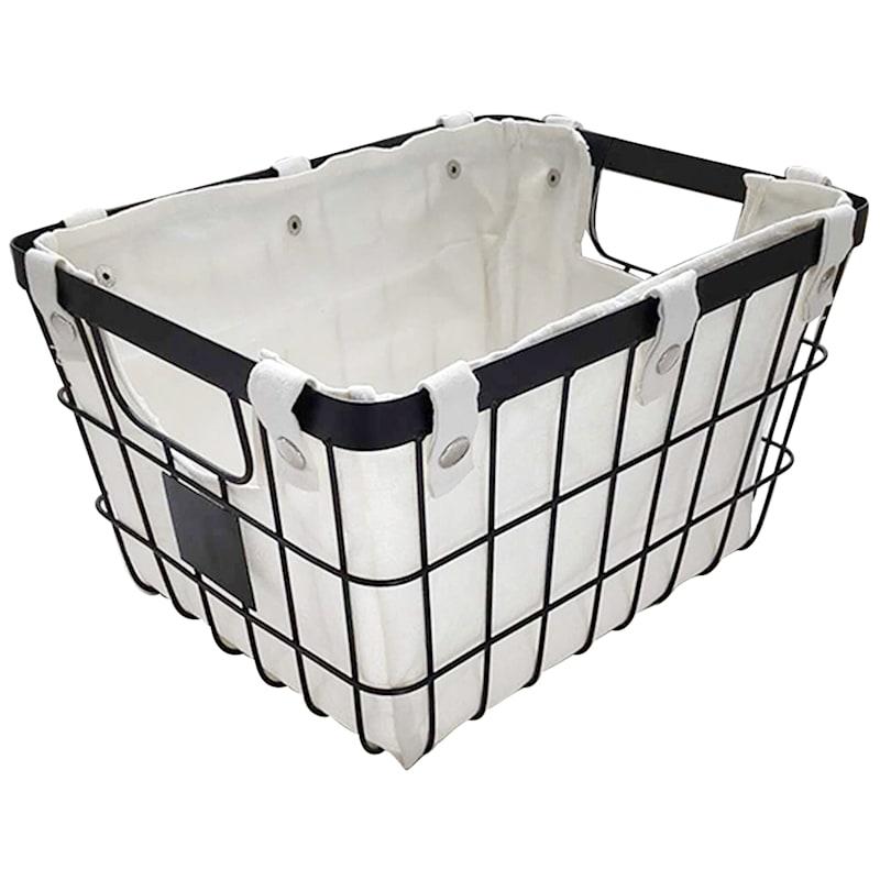 Black Metal Basket W/Liner
