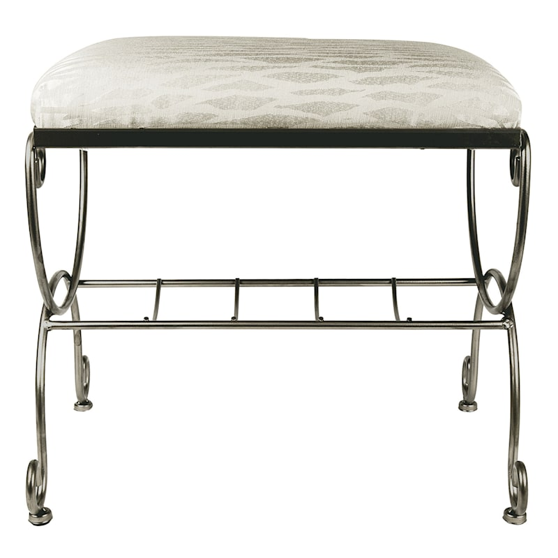 Vanity Bench Silver And Ivory