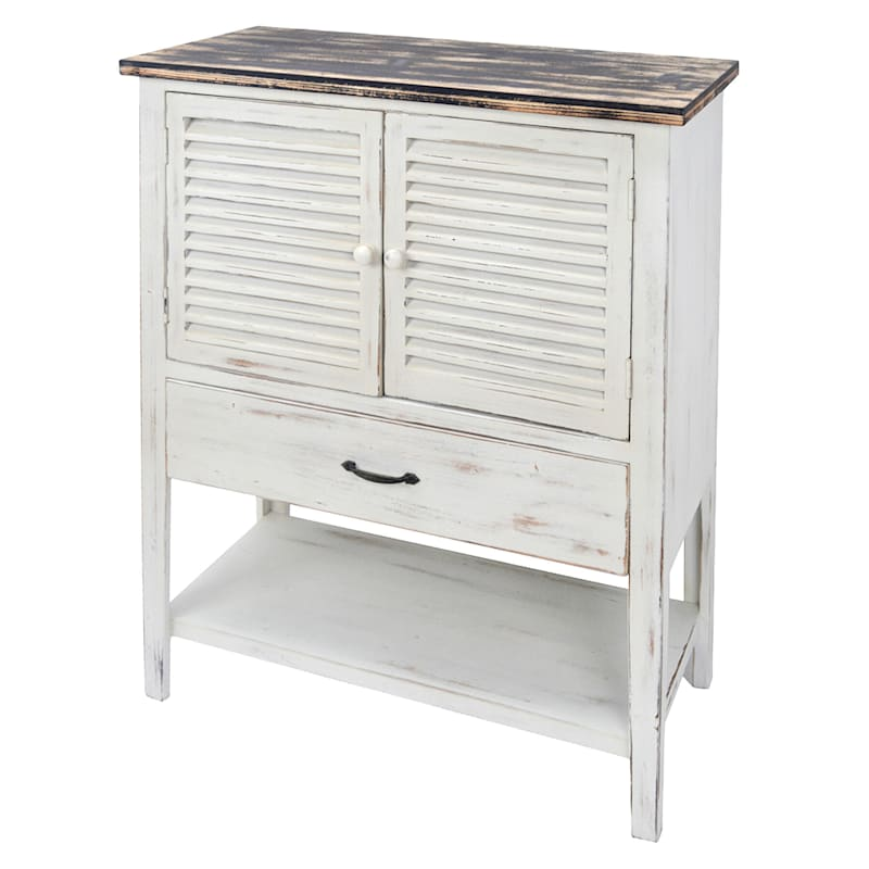 White Wood Aqua Shutter Cabinet With Shelf