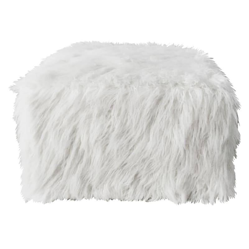 Zoe White Faux Fur Square Pouf