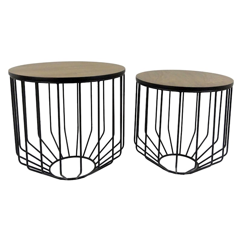 Round Wood Top Plant Stand With Metal Basket Base, Large