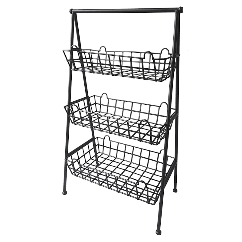 3 Tier Black Metal Basket Rack