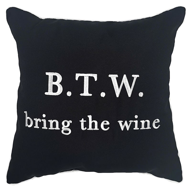 Outdoor Pillow - Bring The Wine - Black