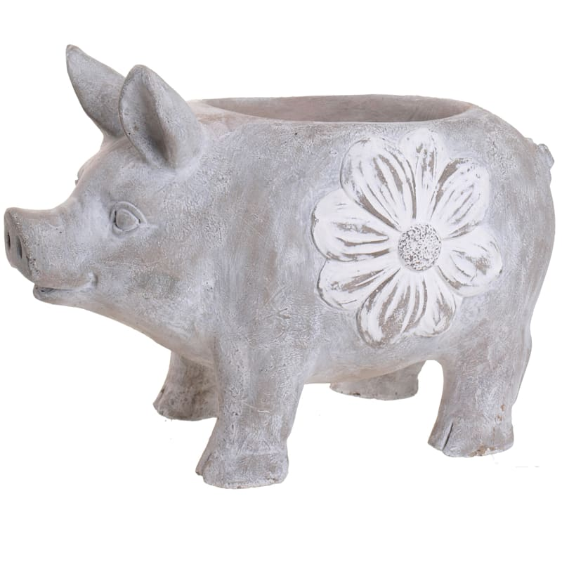 14.1IN CEMENT PIG POT