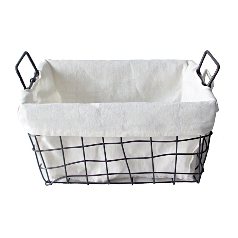 L Wire Rectangle Open Weave Basket Liner Handle