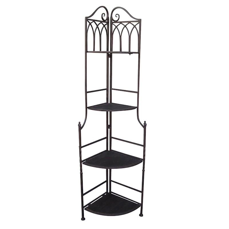 63in. Brown Decorative Arch Metal Corner Rack With Folding Wood Top Shelves