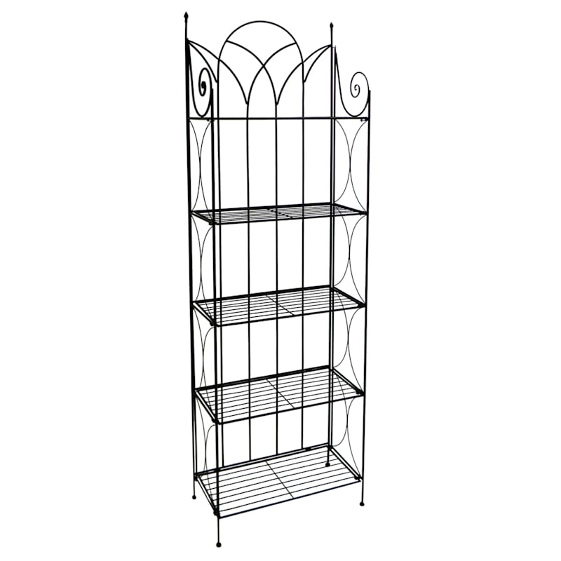 Black 5 Tier Gothic Baker Rack With Metal Wire Shelves