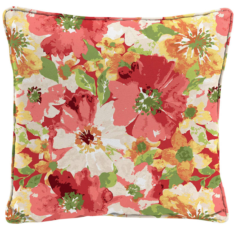 Red Outdoor Pillow - Floral Cosmos