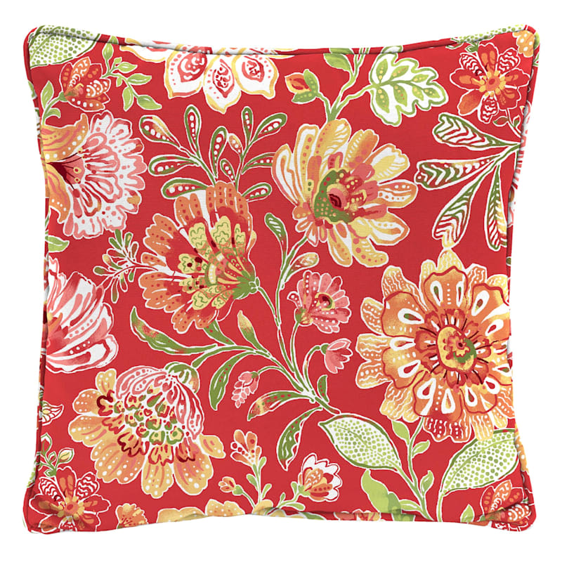 "Floral Field Outdoor Pillow, 16"" square, Red"
