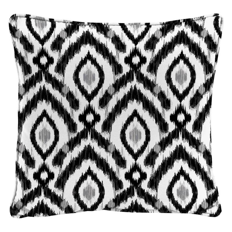 Black Outdoor Pillow - Ikat