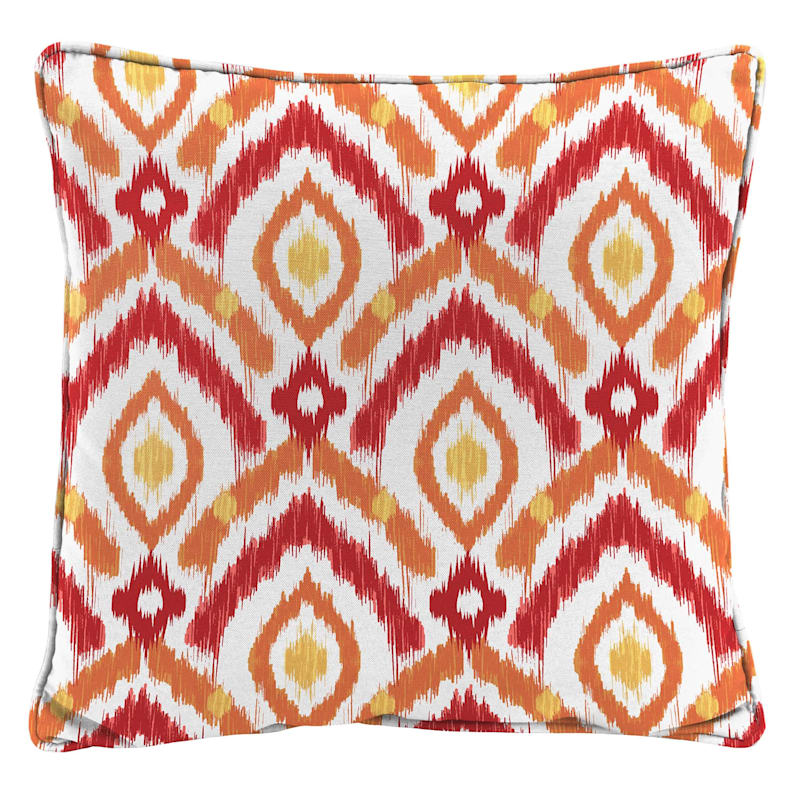 Red Outdoor Pillow - Ikat