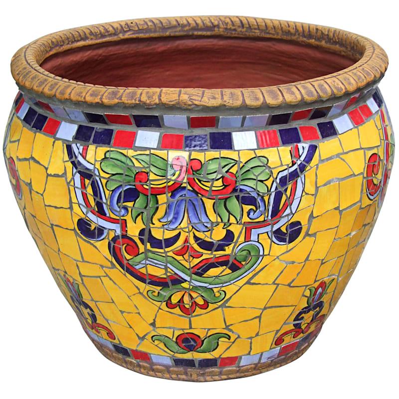 19.5in. Mediterranean Mosaic Round Planter