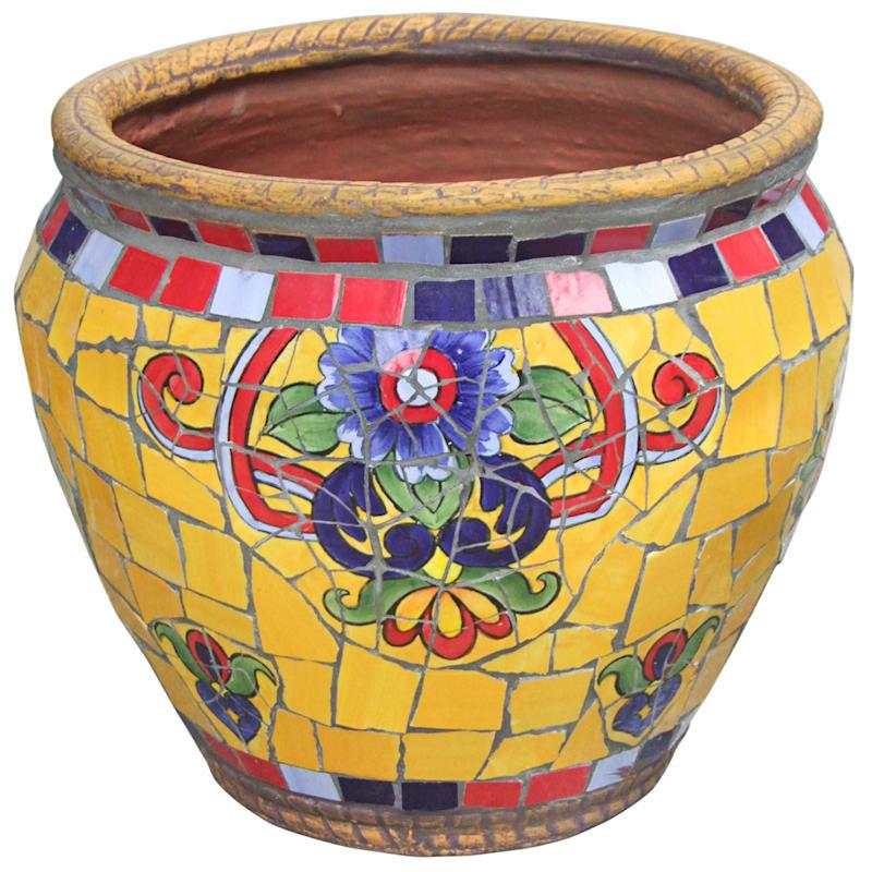 14.5in. Mediterranean Mosaic Round Planter