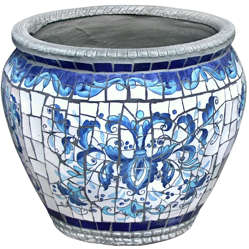 14.5in. Tuscan Mosaic Round Planter