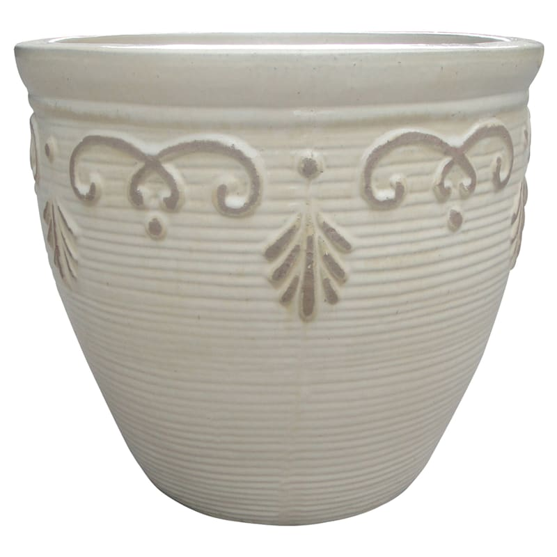 """Rosabel Egg Pot, 20.8"""", White"""
