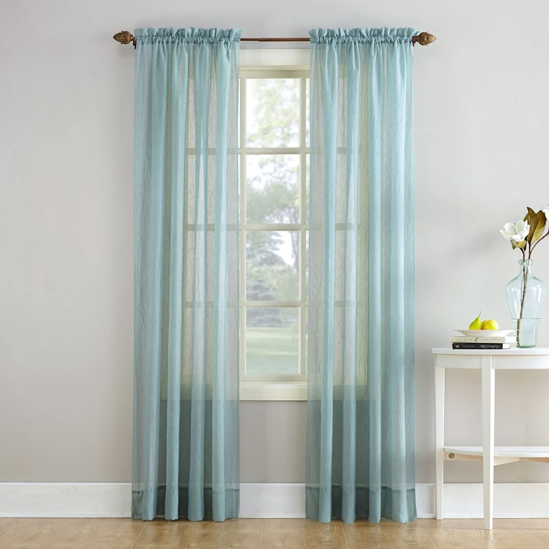 Erica Mineral Sheer Crushed Voile Rod Pocket Window Panel 84in.