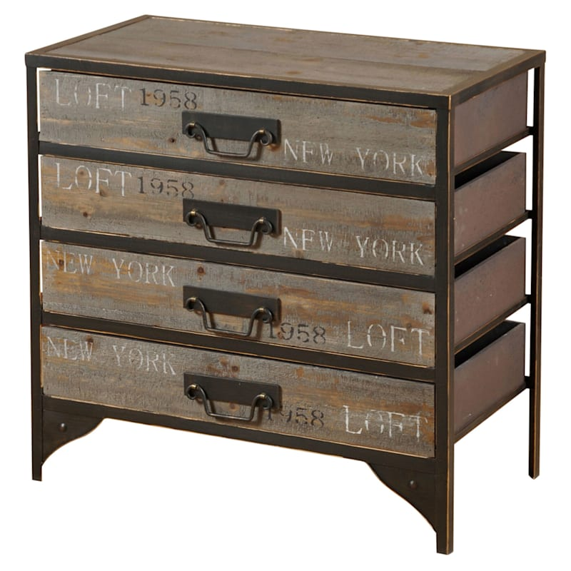 New York 4 Drawer Wood And Metal Cabinet