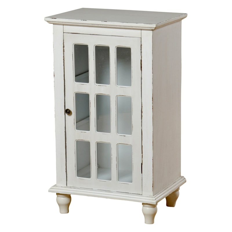 French Country White 1 Door Glass Pane Wood Cabinet