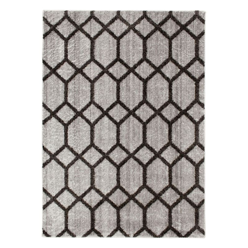 D439 Zion Blue Grey Tufted Area Rug With Non Slip Back 3x5 At Home