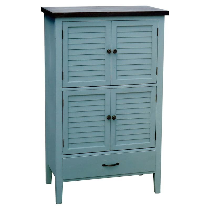 Grey 1 Drawer 4 Door Wood Shutter Cabinet