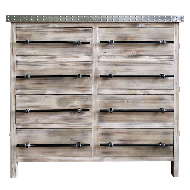 8 Drawer Metal Top Antique Wood Cabinet