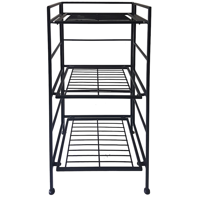 Metal 3 Tier Folding Rack With Wire Shelves