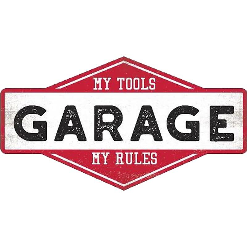 9X16 Garage Rules Textured Wood Plaque