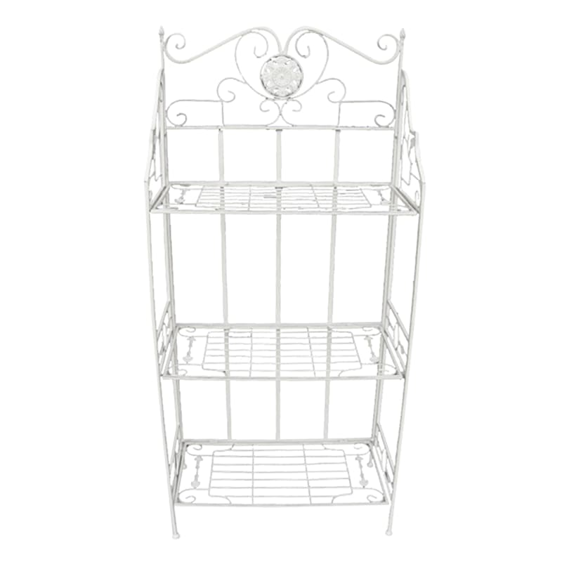 51in. Antique White Metal With Folding Shelves