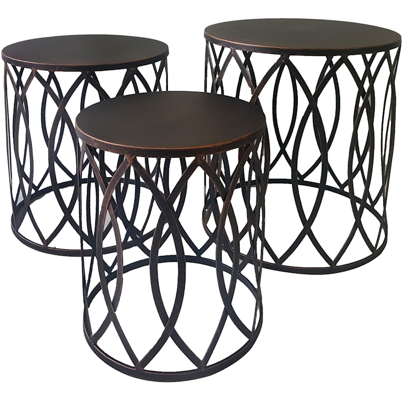 Copper Round Metal Side Table, Large