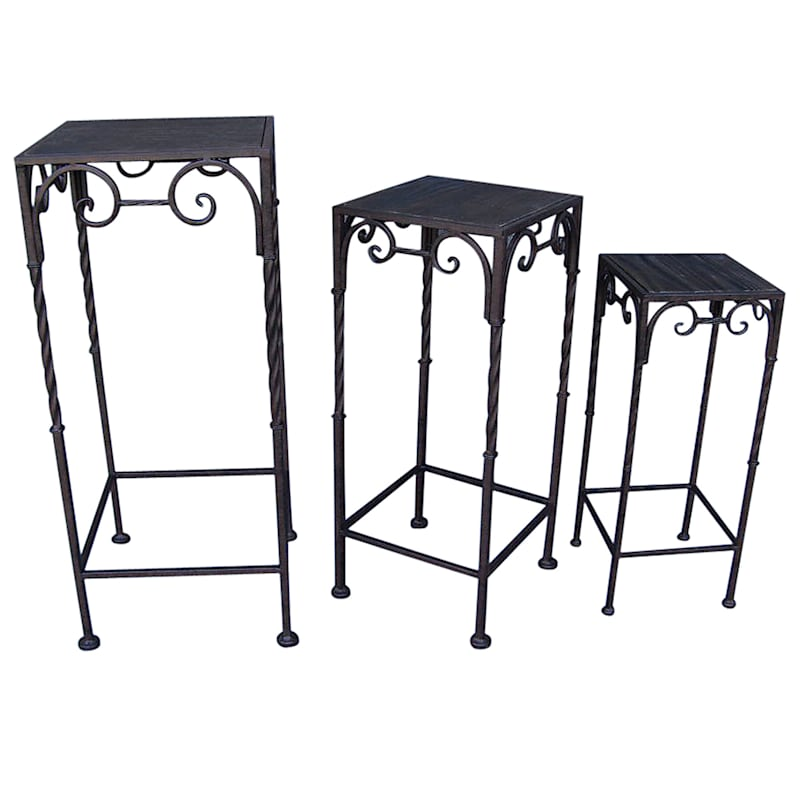 Square Wood Top Plant Stand With Brown Twist Metal Leg, Medium