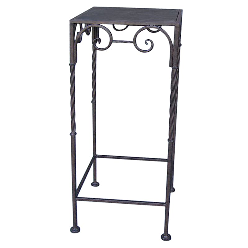 Square Wood Top Plant Stand With Brown Twist Metal Leg, Small