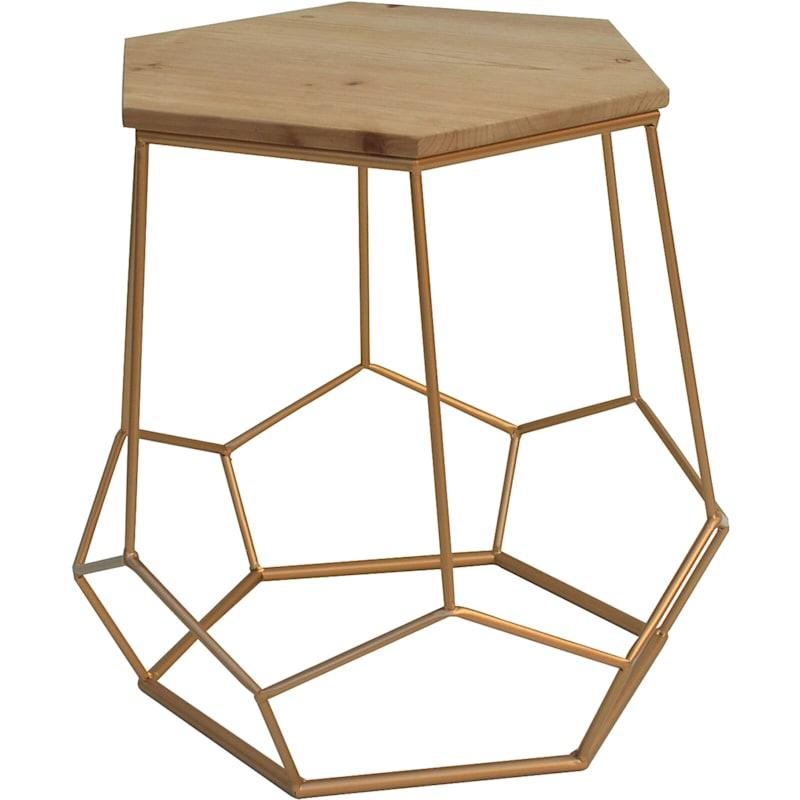 """Gold Hexagon Table, 19"""""""