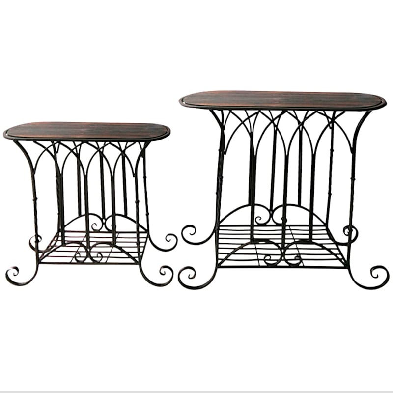 Oval Wood Top Gothic Table With Brown Arch Decorative Metal, Small