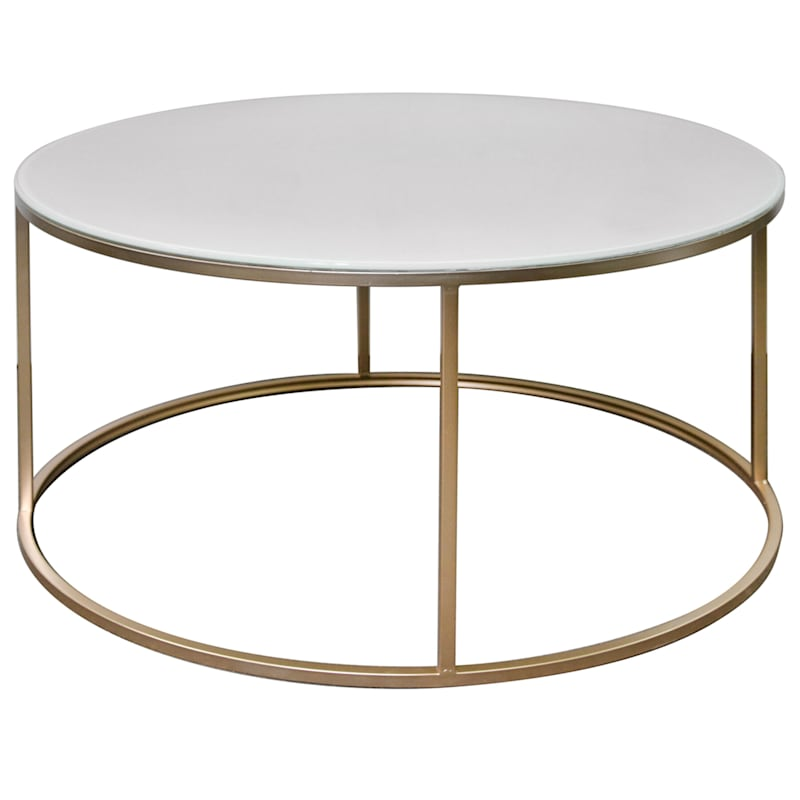 Studio Nova Tempered Glass Top Coffee Table With Metal Base