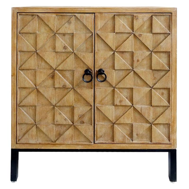 Carmine Textured 2 Door Wood Cabinet With Metal Legs