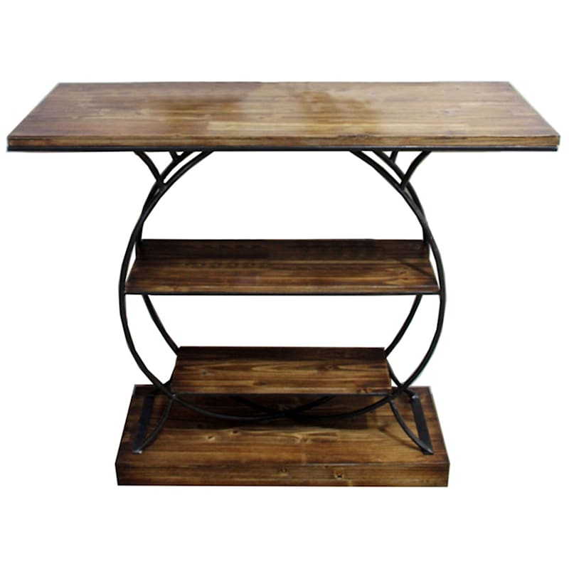 3 Tier Wood Shelf Console Table With Metal Frame | At Home Steel Frame Homes Near Me