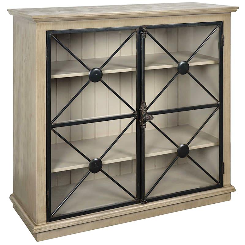 Mora 2 Door Glass Pane Wood Cabinet With Metal Detail